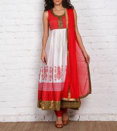 Red & Cream Chanderi Anarkali Suit