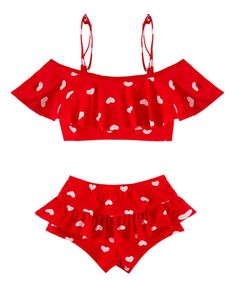 6e4d1594be6ff Look at this Red Heart Ruffle Bikini Top   Bottoms - Toddler   Girls