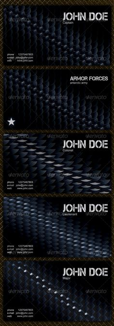 Modern MilitaryBusiness Cards with 4 different background patterns. Pack of 4 two-sided modern business cards saved in 4 PSD file