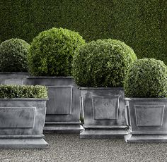 RH - Estate Zinc Paneled Planters