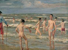 Liebermann Badende Jungen 1900 - Bathing - Wikipedia Spring Awakening, Famous Words, Art Database, Oil Painting Reproductions, Short Film, Impressionism, Bathing, Boys, Artwork