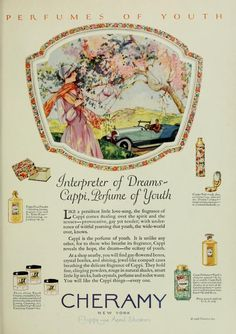 Vintage Advert for Cheramy Cappi Perfume and Toiletries Photoplay Jul 1926 Vintage Advertisements, Vintage Ads, Vintage Prints, Vintage Posters, Vintage World Maps, Perfume Ad, Vintage Perfume Bottles, Beauty Products Labels, Magazine Illustration