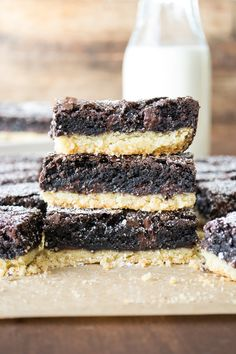 Brownies on top of a buttery pie crust, two delicious layers in one incredible bar!