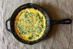 frittata w/ spring greens, parmesan + pancetta • food52