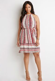 Forever 21 Plus Women's Plus Size Floral Stripe Print Dress