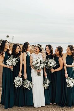 Simple Halter Sleeveless Chiffon Floor Length Long Bridesmaid Dress is part of Teal bridesmaid dresses Hi friend, welcome to our store! Hope you can find your perfect dresses here We accept bo - Forest Green Bridesmaid Dresses, Bridesmaid Dress Colors, Wedding Bridesmaid Dresses, Winter Wedding Bridesmaids, Teal Bridesmaids, Chiffon, Winter Bride, Diy Bouquet, Diy Flower