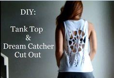 DIY: How To Cut A T-Shirt Into A Tank Top + Dream Catcher Shirt Cut Out