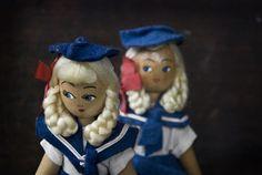 Pair of 1950's Polish Wooden Dolls // Sailor Girls - £20