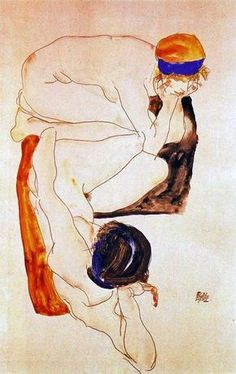 Two Reclining Figures, Egon Schiele,1912 , Austrian 1890-1918 Gouache and pencil on paper