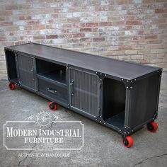 Custom Carnegie media console with a center channel opening and open. Modern Industrial Furniture, Metal Furniture, Industrial Style, Industrial Lamps, Furniture Vintage, Tv Stand Cabinet, Console Cabinet, Home Theater Speakers, Home Theater Rooms
