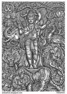 ART OF GARBHAGRIHA / SANCTUARY ART / KARUVARAI OVIYAM / KARUVARAI OVIYANGAL / Anikartick Pencil Art Drawings, Cool Drawings, Art Sketches, Mandala Tattoo, Mandala Art, Hanuman Tattoo, Ballpoint Pen Art, Indian Illustration, Devian Art