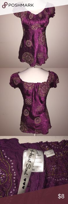 HeartSoul Purple Embroidered Peasant Blouse This beautiful top from HeartSoul is made of a velvety purple fabric that is embroidered with color mandala-style designs, and has cinched sleeves and neckline. It is juniors size M and is in excellent condition. If you have any questions, please ask! HeartSoul Tops Blouses