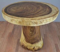 Solid Chamcha Wood Slab Dining Table with Stump Base – R-Home ...