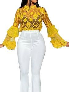 Yellow Pattern, Ruffle Sleeve, Active Wear For Women, Sleeve Styles, Blouses For Women, White Jeans, Bell Sleeve Top, Embroidery, Lace
