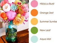 August Color Play: Hibiscus Burst, Orange Zest, Summer Sunrise, New Leaf, Aqua Mist