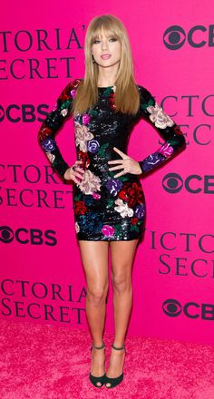 Taylor Swift wore a shimmering sequined Zuhair Murad dress before taking the stage at the Victoria's Secret Fashion Show.
