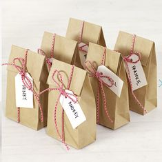 Cute party bag ideas, brown paper packages tied up with string!