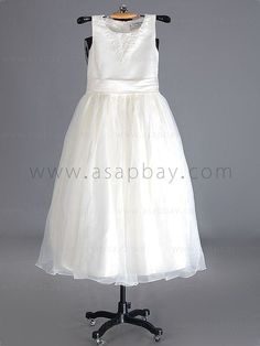 Flower Girl Dress A Line Tank Top Floor Length Chiffon White Bflbht0484 for $74.99