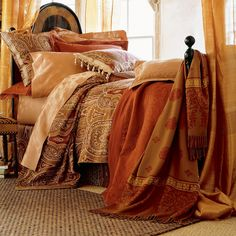 Amazing bedroom look. Fro similar bedding try: http://www.naturalbedcompany.co.uk/product-category/bedding/indian-cotton-silk-duvet-covers/