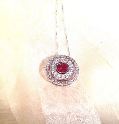 Ruby Double Circle Necklace Wear 3 Ways by NorthCoastCottage, $339.00