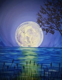 Paint Nite: Discover a new night out and paint and sip wine with friends Simple Oil Painting, Easy Canvas Painting, Simple Acrylic Paintings, Canvas Art, Diy Canvas, Night Sky Painting, Moon Painting, Painting & Drawing, Easy Landscape Paintings