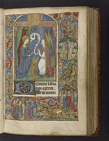 Image of the visitation from an illuminated book of hours produced in Rouen, France, ca. 1475