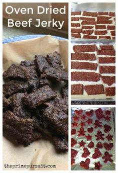 Home Made Oven Dried Beef Jerky. Easy Whole 30 snack chemical free sugar free No equipment needed! Homemade Beef Jerky, Homemade Sushi, No Sugar Beef Jerky Recipe, Homemade Recipe, Deer Recipes, Real Food Recipes, Simple Recipes, Fish Recipes