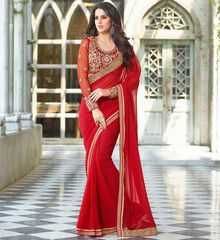 Red Color Georgette Designer Party Wear Sarees : Kshitika Collection  YF-40627