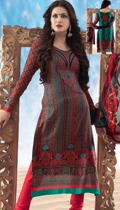 Get Latest Bollywood Latest Red Cotton #ChuridarKameez Online   #Price INR- 2740 Link-  http://alturl.com/htaf8