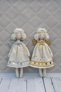 Textile doll, Tilda doll ,Princess Tilda angel,   Cute angel, made of natural materials, cotton. The dress is decorated with gold and silver sequins. These dolls will be a good gift for a birthday or Christmas  price for 1 doll  Height of 13.5 inches (34cm)