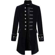 Mens Velvet Goth Steampunk Victorian Frock Coat (1 045 ZAR) ❤ liked on Polyvore featuring men's fashion, men's clothing, men's outerwear, men's coats, outerwear, mens victorian coat, mens coats, mens gothic coat and mens victorian frock coat