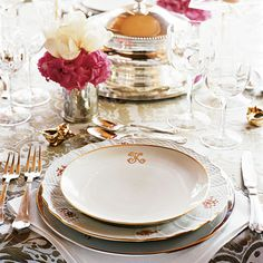 table settings for dinner | And you must use formal, monogrammed linens. Try these (all from ...