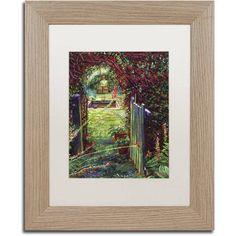 Trademark Fine Art Wicket Garden Gate Canvas Art by David Lloyd Glover, White Matte, Birch Frame, Size: 11 x 14, Brown