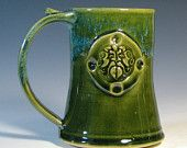 Personalized gift tankard beer mug coffee cup made to order, glazed in green moss, custom medallion stamp hughes pottery