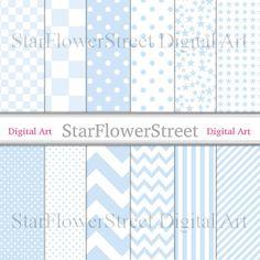 Baby Blue Scrapbook Paper Printable Digital Baby Boy Scrapbooking pale soft blue star chevron polka dot stripe patterns Instant download by StarFlowerStreetDA