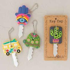 Key Caps - Super fun, colorful rubber key caps make keys more fun! Perfect for house keys, in fun ow Hippie Auto, Hippie Car, Car Essentials, Cute Car Accessories, Key Caps, Car Hacks, Cute Cars, Fancy Cars, Fimo