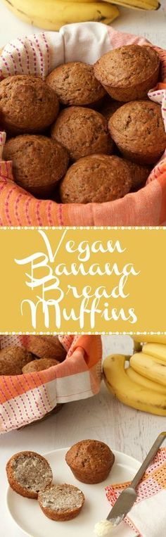 Easy Vegan Banana Bread Muffins. Delicious served warm or cold, with or without vegan butter! Vegan Food   Vegan Breakfast   Vegan Recipes