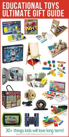 Get your kids gifts they enjoy that also teach them something! This is the ultimate educational toys gift guide with toys they'll love long term. Educational Toys For Preschoolers, Best Educational Toys, Activities For Kids, Easy Gifts, Kids Gifts, Best Kids Toys, Children Toys, Sensory Book, Gifted Education