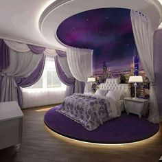 41 Greatest of Purple Bedroom Design Ideas - Bong Pret Your bedroom is your very private portion of your whole property. Nonetheless, despite your. A bedroom has to be a relaxing hideaway, therefore it i. Purple Bedroom Design, Fancy Bedroom, Purple Bedrooms, Luxury Bedroom Design, Girl Bedroom Designs, Interior Design, White Bedroom, Bedroom Neutral, Bedroom Boys