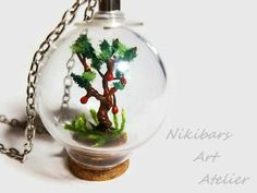 Vial Flower Necklace Botanical Necklace Glass by NikibarsNatureArt