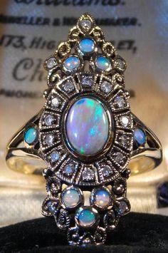 Victorian Black Crystal Opal Diamond 14K Gold Ring - SUPERB Vintage Antique