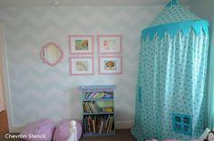 Chevron stenciled little girl's bedroom in blue and white. http://www.cuttingedgestencils.com/chevron-stencil-pattern.html #cuttingedgestencils #stencils #stenciling #wallstencils #diy