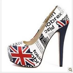 2013 new popular fashion star Britain flag high heel shoes. I could use a pair of these.
