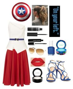 """""""Captain America"""" by girluntold ❤ liked on Polyvore featuring Closet, Roland Mouret, Orciani, Smashbox, Essie, Marc Jacobs, MAC Cosmetics, Schutz, Tom Ford and modern"""