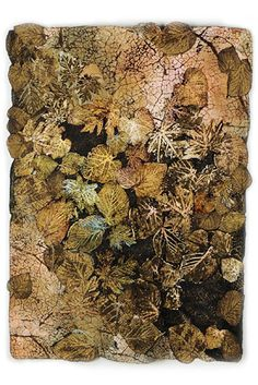 "Lesley Richmond ""She makes textiles that suggest organic surfaces by changing the structure of the fabric, rather than imposing a design on the surface of the cloth. She uses distressing techniques and chemical processes to change the surface structure of the fiber into an illusion of organic decay."""