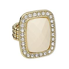 "Ring, stretch, acrylic / Chinese glass rhinestone / gold-plated ""pewter"" (zinc-based alloy), cream and clear, 30x25mm rectangle, size 7. Sold individually."