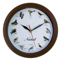 This singing bird clock from Newhall™ sings every hour on the hour.  Soothes you every hour with melodic bird singing and chirping.  Features 12 of the most popular North American bird songs.  Each hour is announced by that bird's beautiful song.  Hourly chime is pre-set from 6AM to 9PM & silent ...