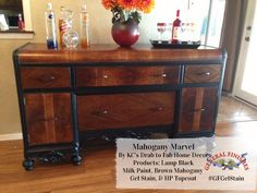 How beautiful is this buffet from KC's Drab to Fab Home Decor ? (http://www.kcsdrabtofab.com/)  It was refinished with GF Lamp Black Milk Paint, Brown Mahogany Gel Stain and High Performance Top Coat.