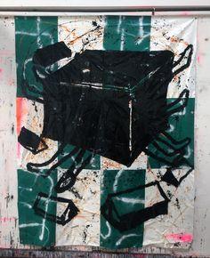 Hermann Josef Hack, DIE BRÜDER IM OSTEN SCHWEIGEN, 160227, painting and spray paint on tarpaulin, 300 x 230 cm, 2016