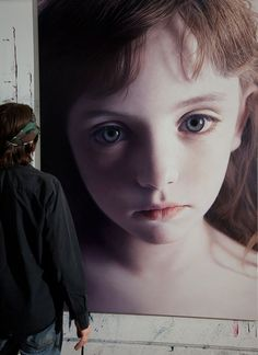 "Hyper-realistic Austrian Artist Gottfried Helnwein (1948) - ""Head of a Child 18 (Mollie)"", 2014 - Mixed media (oil & acrylic on canvas)"